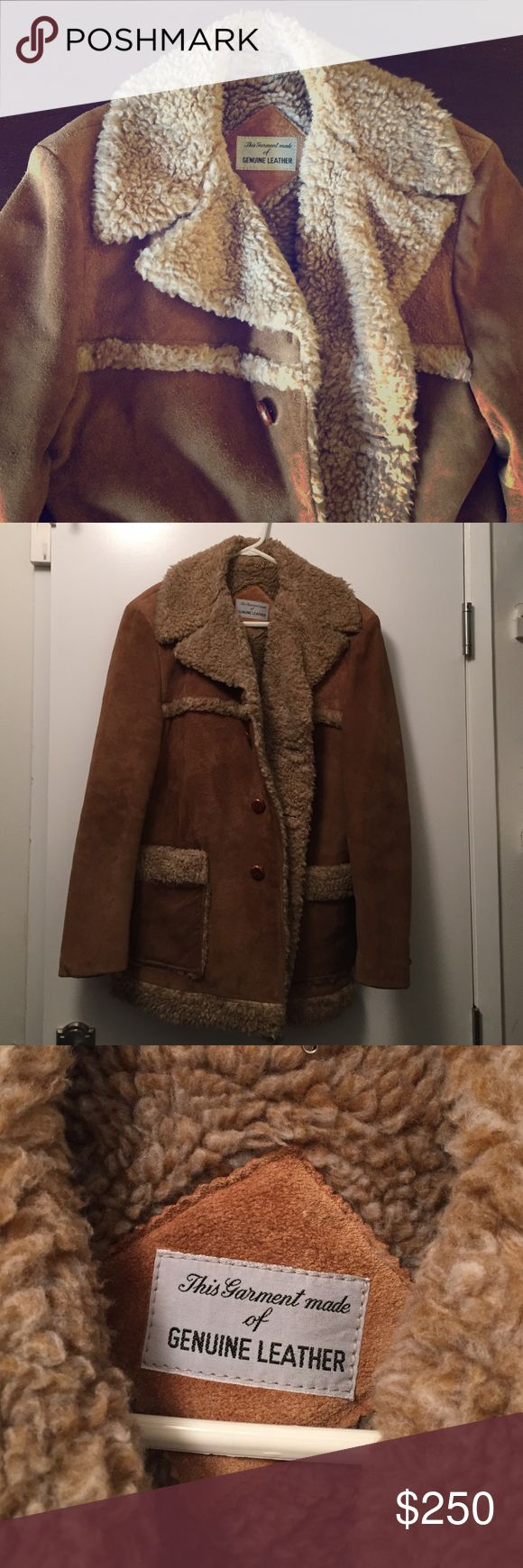 Vintage Men's Leather Jacket Brown men's genuine leather vintage jacket. Perfect for winter to keep you warm! Great condition and very well taken care of. Vintage Jackets & Coats Pea Coats