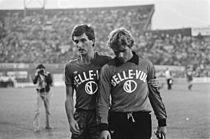 Ludo Coeck (links) en zijn doelman Jacky Munaron in 1978.