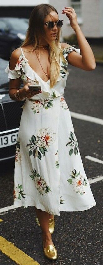 #summer #trendy #outfitideas Floral Wrap Midi Dress + Golden Loafers