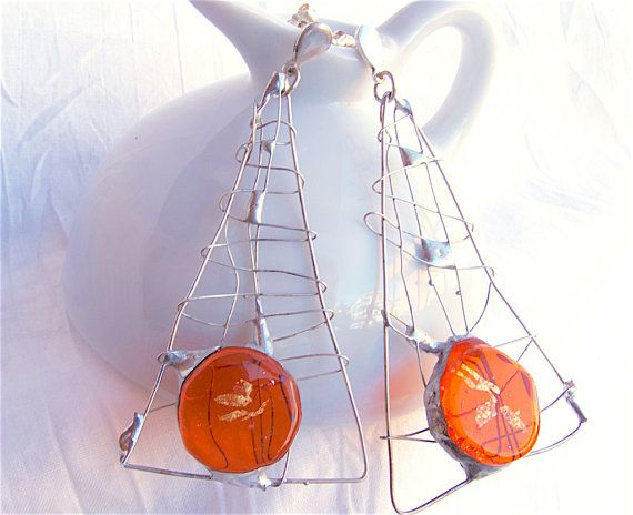 """DO NOT MISS THE DISCOUNT!! """"FRIENDS""""code 25%OFF #jewelry #artisan #silver etsyfresh #shopping #moda #her Modern and abstract earringsartisan glass by Dartisanglass on Etsy"""