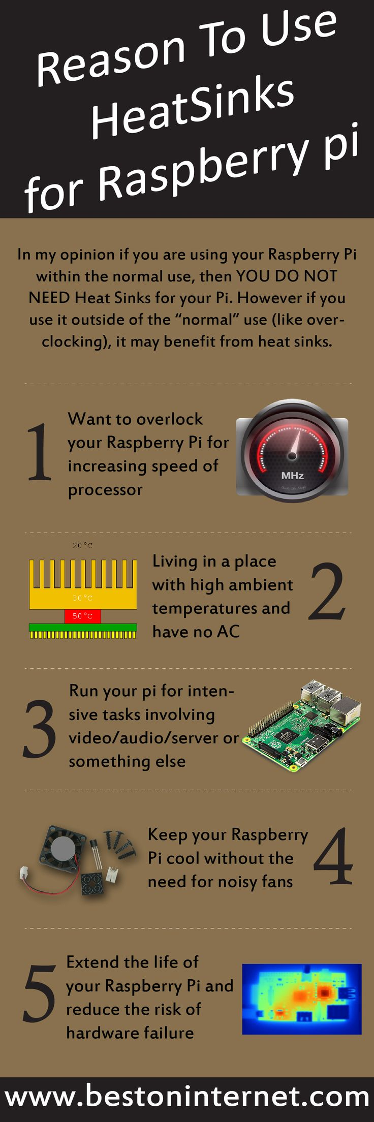 Reasons to use #Heatsinks for raspberry Pi  If you want to increase the speed of the processor of your raspberry pi then heatsink is the best option for you. Heatsink will help you to cool down your #raspberrypi board.   http://www.bestoninternet.com/compute/electronics/best-raspberry-pi-heatsink/