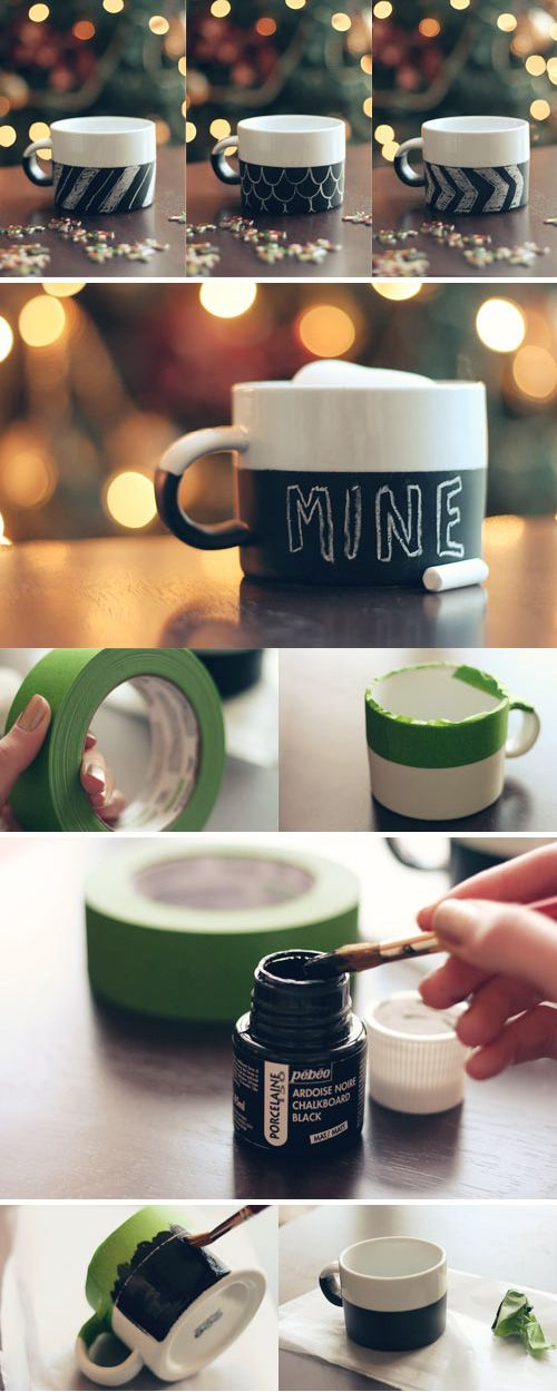 chalk on a mug.. love this idea