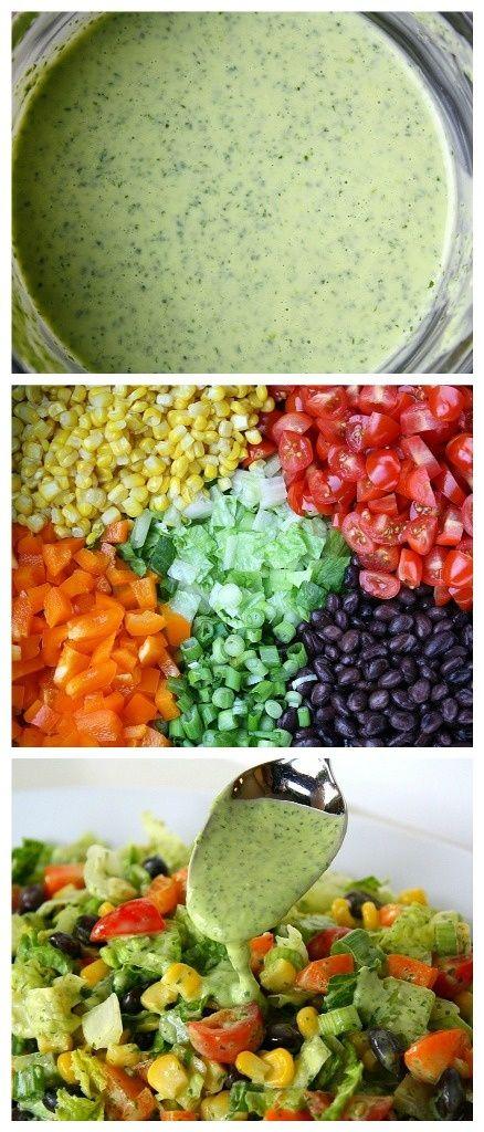 Southwestern Chopped Salad with Cilantro Dressing - Joybx