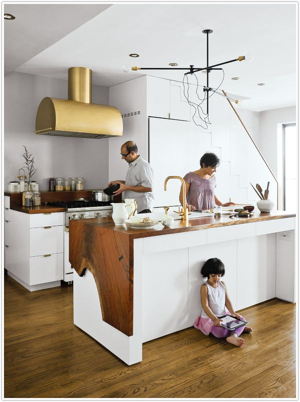Love the brass hood and wood slab counters.: Kitchens, Interior, Idea, Counter Top, Countertops, Kitchen Design, Woods