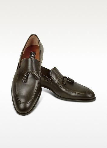 $448, Dark Brown Leather Tassel Loafers: Dark Brown Calf Leather Tassel Loafer Shoes by Fratelli Rossetti. Sold by Forzieri. Click for more info: http://lookastic.com/men/shop_items/92574/redirect