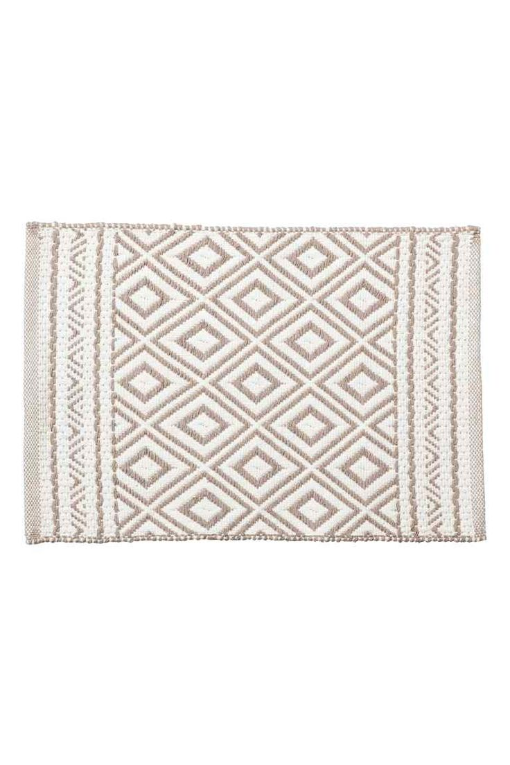 Jacquard-weave bath mat - White/Mole - Home All | H&M GB 1