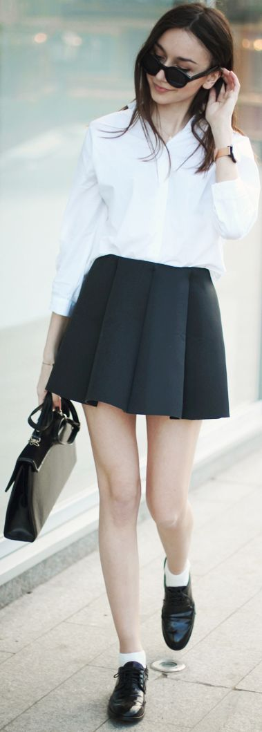 Asos Black Dipped Statement Hem Skater Skirt
