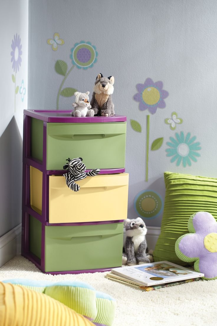 Here's an easy and inexpensive way to personalize an ordinary storage unit for a child's bedroom!