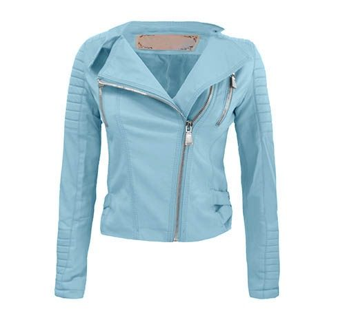LEATHER BIKER JACKET BLUE | WOMEN | Most Wanted