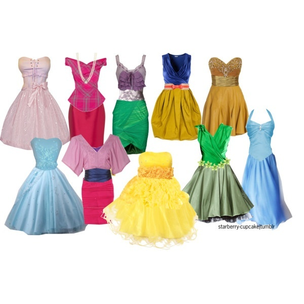 Disney Princess Bridesmaid Dresses ;) For bachelorette party on Disney property... what do you think? I mean, or we could just make cute tank tops for people that go with the color scheme of the different princesses.