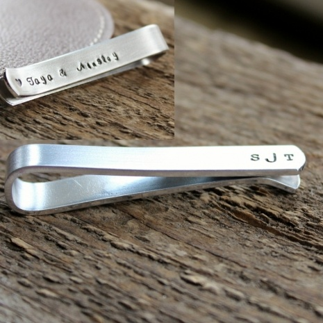 Unique Wedding Attendant Gifts : Bar - Hand Stamped Mens Tie Clip Gift - Great wedding attendant gift ...