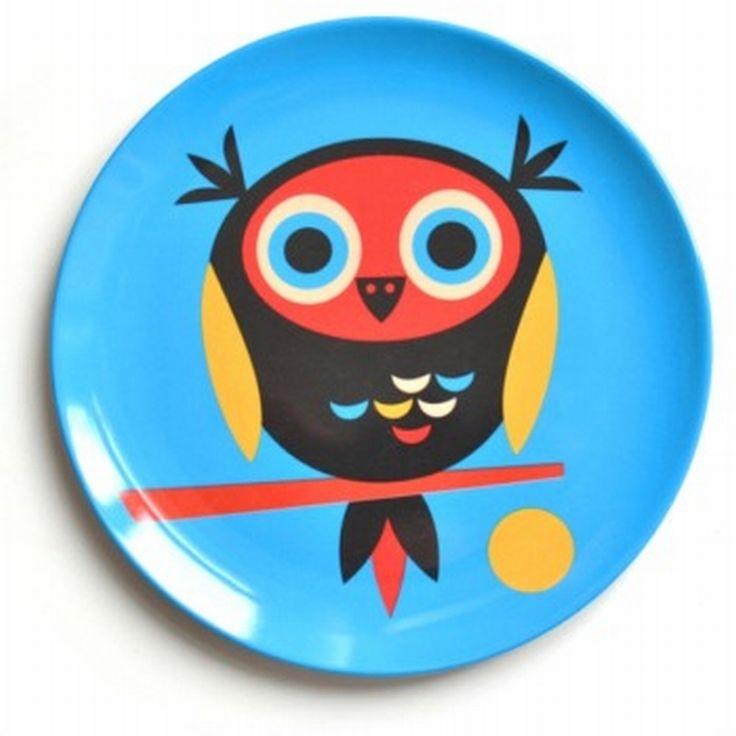 Cute #owl melamine plate by #Ingela from www.kidsdinge.com https://www.facebook.com/pages/kidsdingecom-Origineel-speelgoed-hebbedingen-voor-hippe-kids/160122710686387?sk=wall