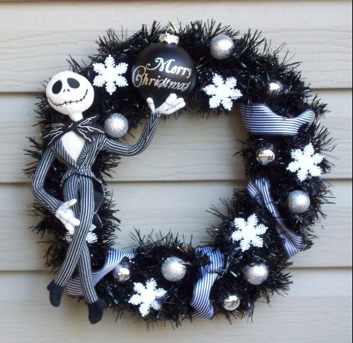 Nightmare Before Christmas JACK SKELLINGTON Holiday Wreath by SuperVixenBadGirl on etsy