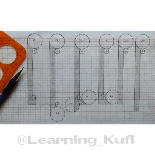 حرف الألف . وجدت ست أشكال لرسم حرف الألف في الكراسة التي اعتمدها كمرجع لتعلم الخط الكوفي الفاطمي . #Calligraphy #Arabic_Calligraphy #Kufi #Kufic #Self_taught #Self_Taught_Calligrapher
