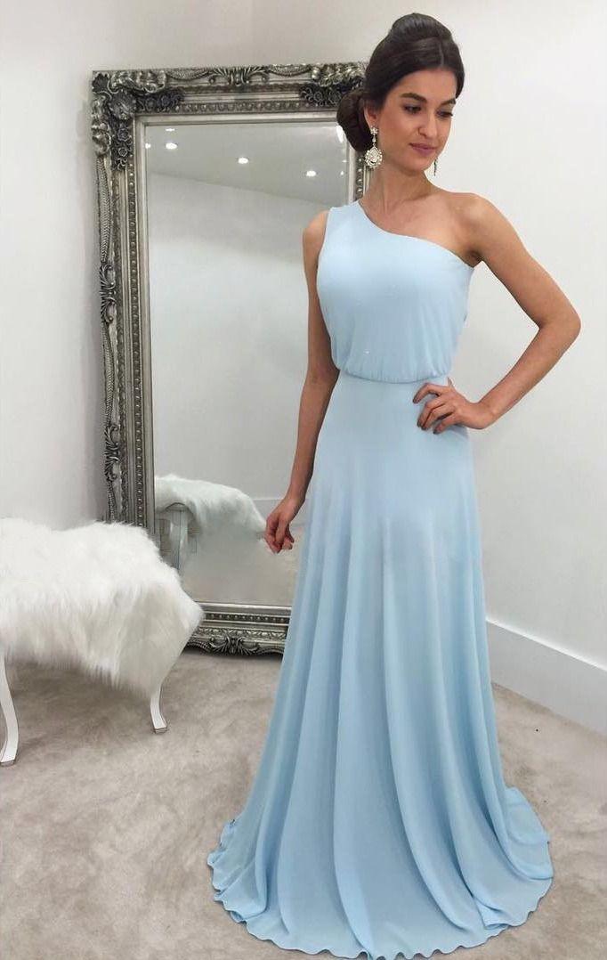 Sky Blue One Shoulder Chiffon Prom Dresses Long