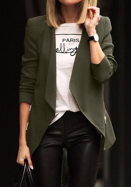 Create a more polished look in this army green draped blazer. It features draped open front design, together with zipper detailing at both sides, padded shoulders and long sleeves. Grab one here. | Lookbook Store