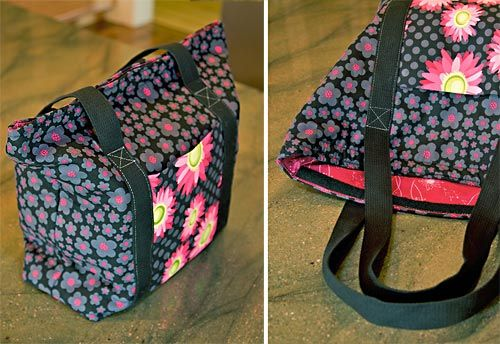 insulated shopping bags.  good tutorial on how to attach straps that go all around the bag for extra strength