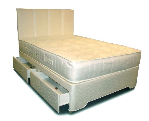 6ft Symphony Zoned Pocket Sprung Divan Set - £744.95 - A 'zoned' pocket sprung mattress, with generous layers of upholstery and a high quality Belgian damask fabric (matching fabric used on base). This pocket sprung mattress has rows of firmer springs in the centre of the mattress where the mattress is used the most, with slightly softer springs at the shoulder and leg area. This divan set is available as a hard top / sprung top base