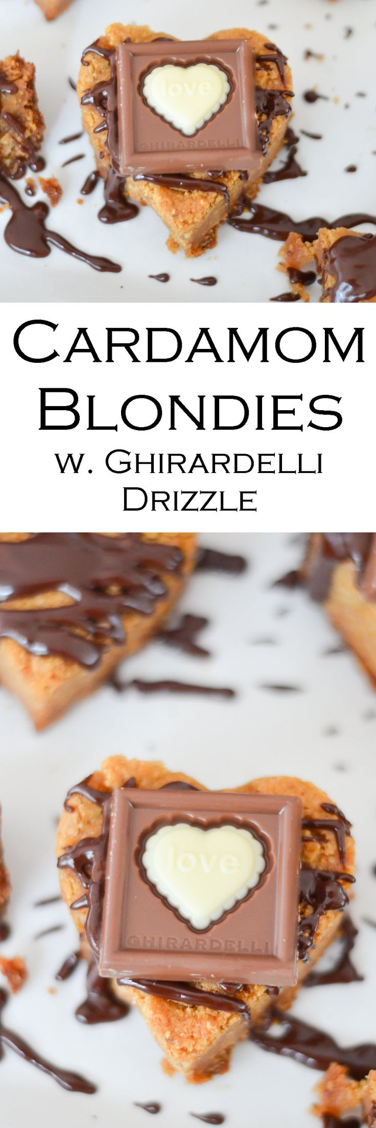 Cardamom Blondies w. Ghirardelli Chocolate Drizzle. Fun Valentine's Day Dessert for GrownUps