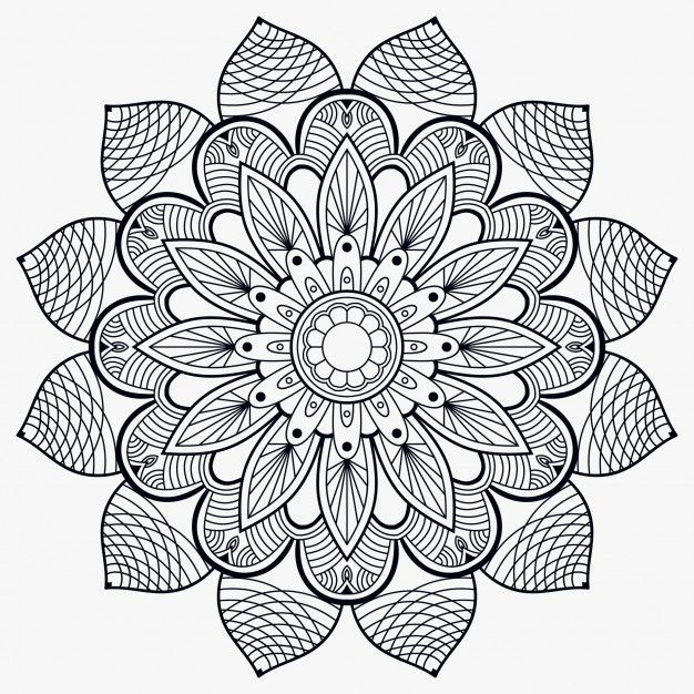 Decorer L Ornement Decoratif Mandala Premium En 2020 Mandala Mandala Noir Et Blanc Mandala Oriental