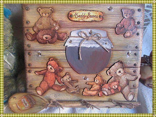 Объемный декупаж без специальных материалов: создаем панно «Ложка меда» - Ярмарка Мастеров - ручная работа, handmade