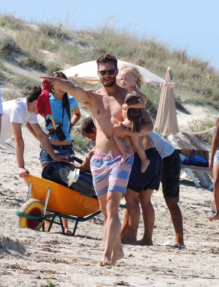 Jaime Dornan  & family   At the beach in Ibiza