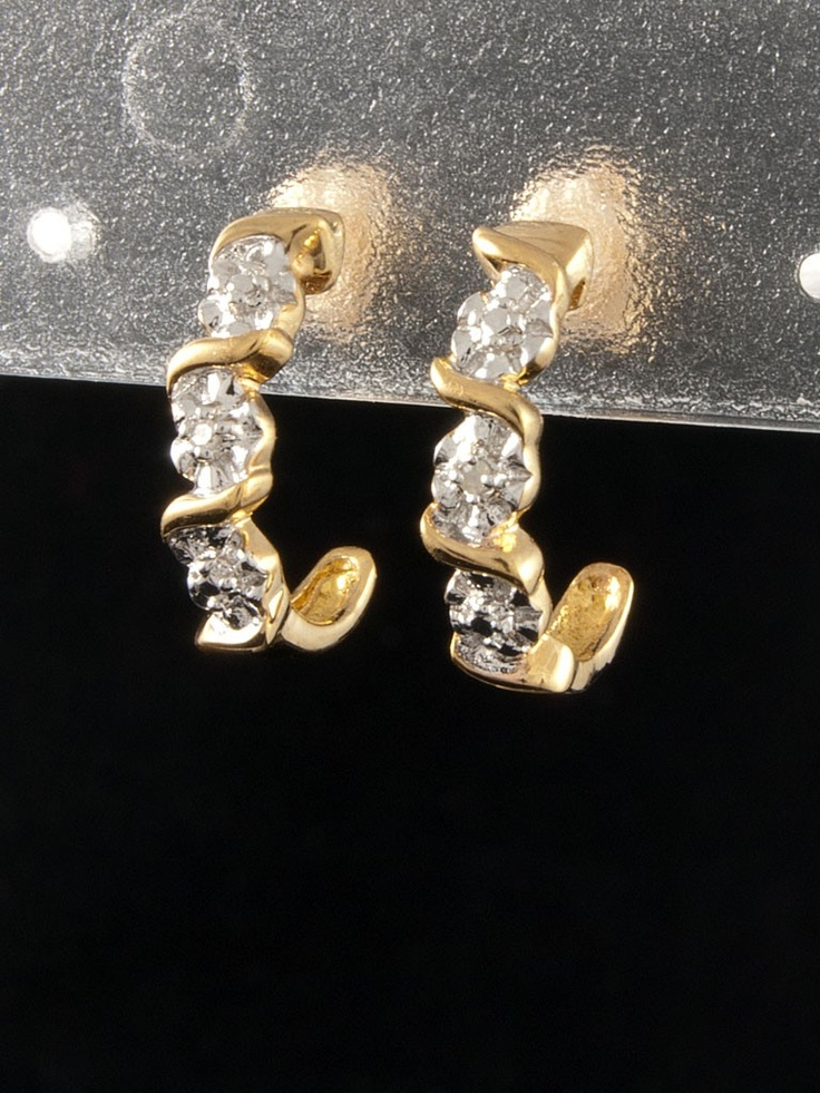 Stříbrné náušnice, diamant, rhodiovaný, zlacený, 925 punc 111-986-1148