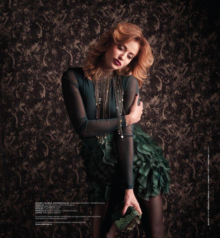 Dekoma MIDORI fabric used in the background. Photoshoot in Stary Browar Poznan. Photos: Agnieszka Szenrok Model: Magda Swiat