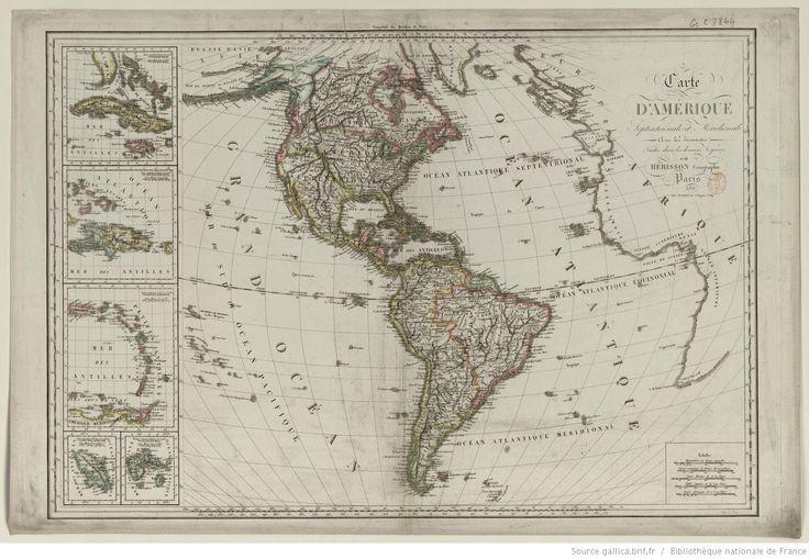 Carte d'Amérique septentrionale et méridionale avec les découvertes... / par Hérisson...