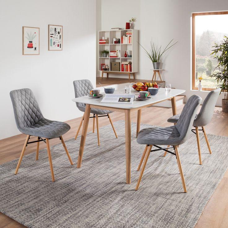 Gestoffeerde stoelen Farelas (2-delige set) - geweven stof/massief beukenhout - lichtgrijs - Lichtgrijs