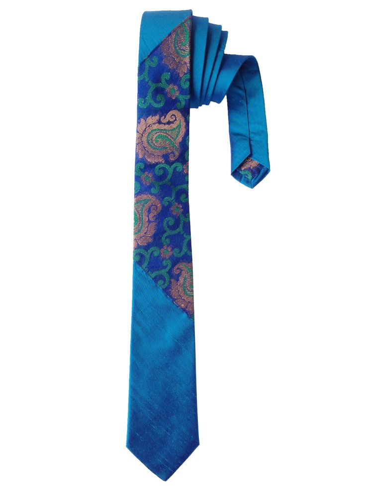 Peacock Blue Raw Silk Tie with Indian Brocade Organza