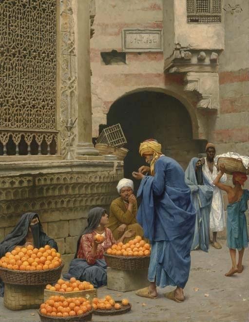 DEUTSCH Ludwig Austrian (Vienna 1855 - 1935 Paris 1935) ~  The Orange Seller, Cairo, 1886