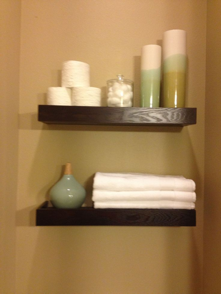 floating shelves above toilet – downstairs bath  – Home interior ideas – #bath #…   – Shelves recipes