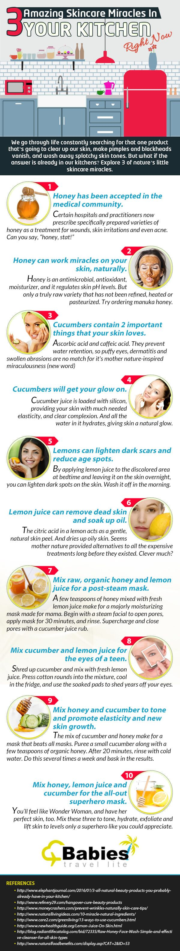 We go through life constantly searching for that one product that's going to clear up our skin, make pimples and blackheads vanish, and wash away splotchy skin tones. But what if the answer is already in our kitchens? Explore 3 of nature's little skincare miracles. #infographics #skincare