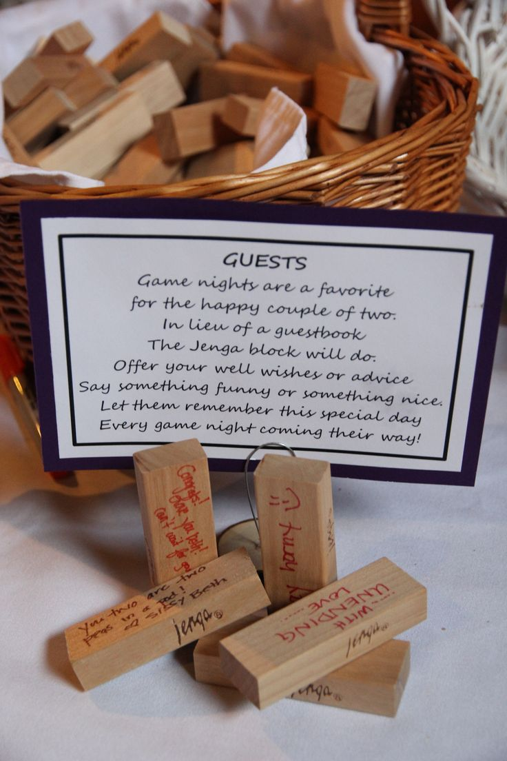 Jenga Wedding Guest Book- could be really fun if we go with lawn games during the reception