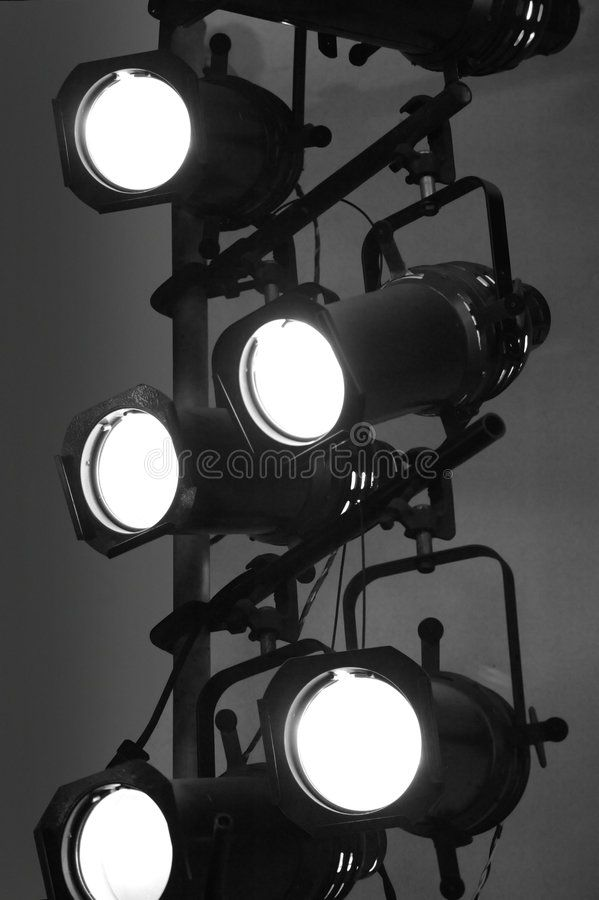 stage lights on a vertical rig in