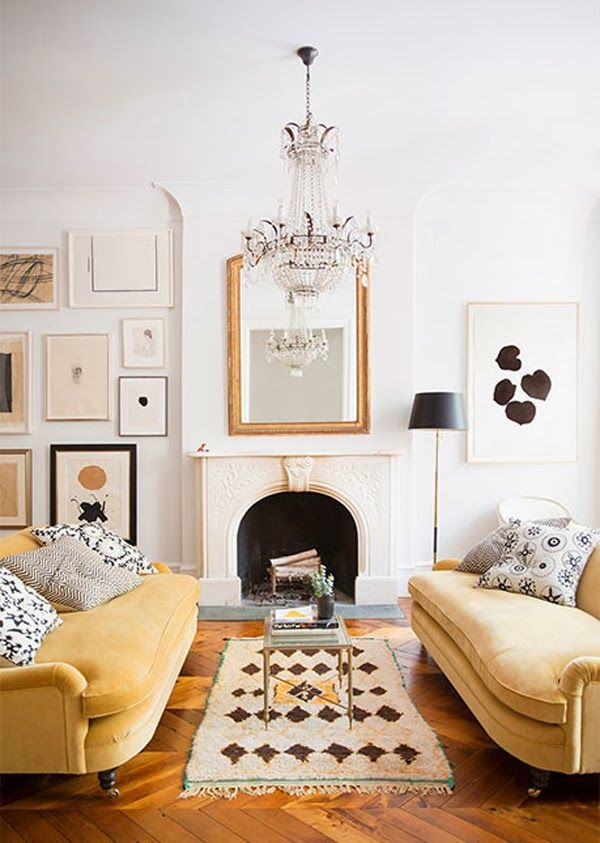 two sofa living room design. Ali Cayne West Village townhouse living room with mustard yellow velvet  sofas gold mirror and Moroccan rug on Thou Swell 27 best Inspiration Living Rooms Two Sofas images