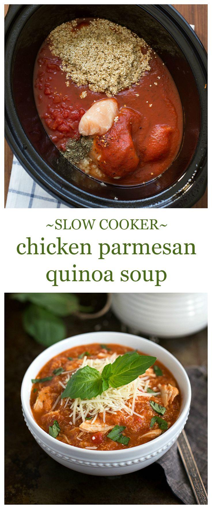 {Slow Cooker} Quinoa Chicken Parmesan Soup | Chelsea's Messy Apron