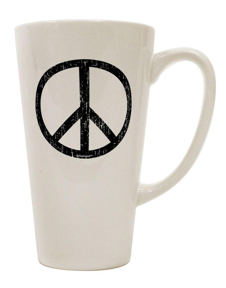 Peace Sign Symbol - Distressed 16 Ounce Conical Latte Coffee Mug