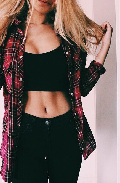 #summer #fashion / black crop top + denim