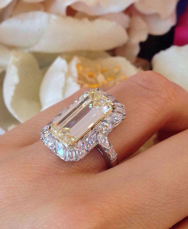 GIA 4.41 CT Emerald Cut Yellow Diamond Ring Halo Setting