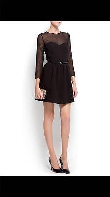 Mango Long Sleeve Black Belted Dress Size Large