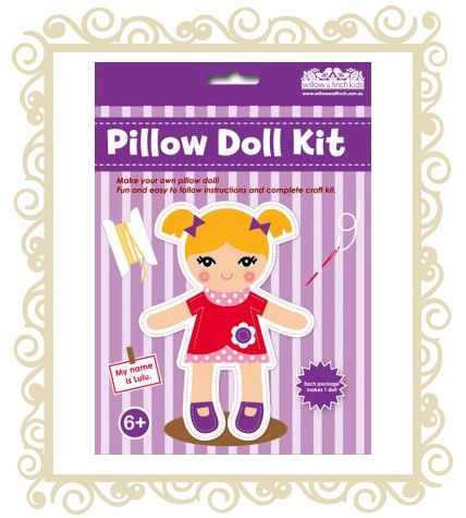 On sale! http://www.buttonbaby.com.au/willow-finch-pillow-doll-lulu-p-1985.html  Willow & Finch Pillow doll.  Make your own pillow doll! Fun and easy to follow instructions and complete craft kit.  Recommended age 6+.
