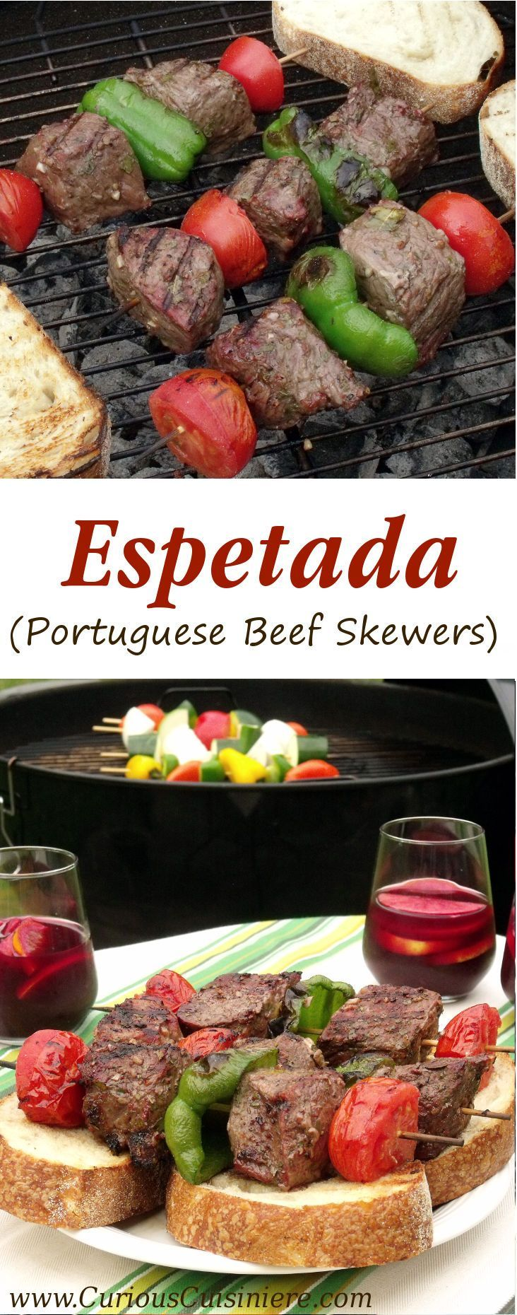 Big, juicy grill-seared chunks of beef served over thick slices of artisan bread. Espetada, or Portuguese Beef Skewers, calls for a party, and a party is what we have for you today! | www.CuriousCuisiniere.com