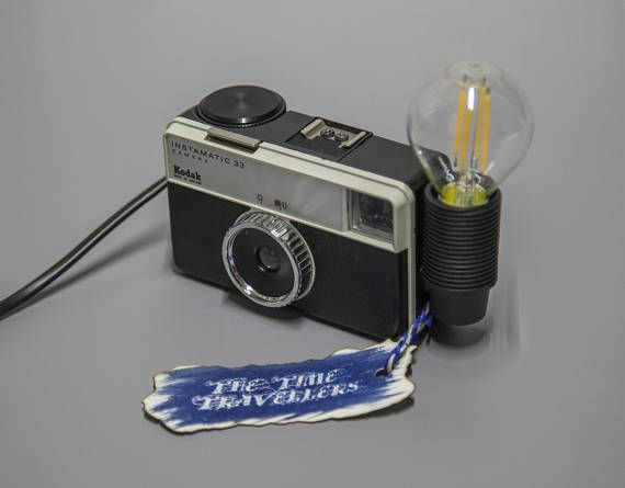 Unique Upcycled Vintage Kodak Instamatic 33 Film Camera Lamp