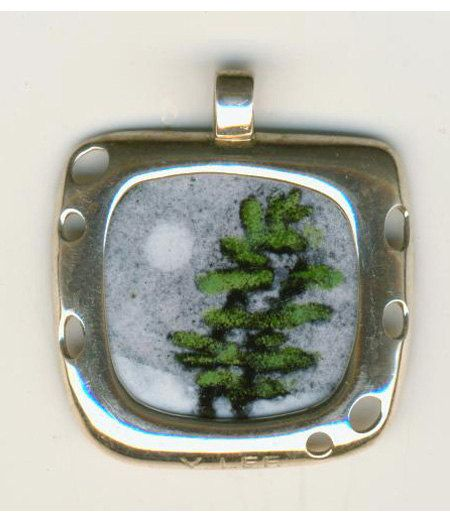 Hand Painted Enamel Jewelry Coin Pendant Pine Half by VLeeArt, $85.00
