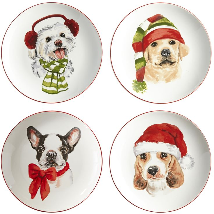 Christmas Puppies Salad Plate Set | Pier 1 Imports