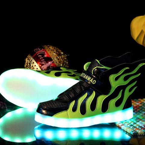 Black Fire LED Light Up Shoes With Wings