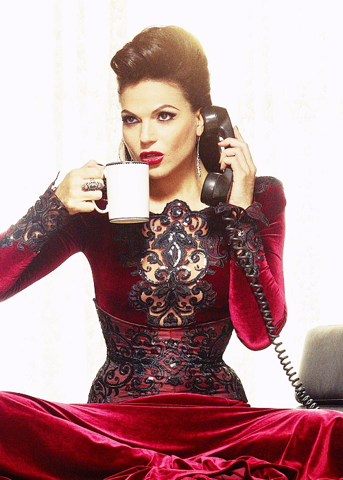 For some reason, I always loved this pick. Its a perfect mixture of Evil Queen flare (hair, make up, dress) and Regina Mills sass (the look on her face while she's talking on the phone, the coffee cup). :D EVIL REGALS