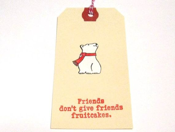 Funny Christmas tags Polar Bear Gift Tags Fruitcake by MouseGarden